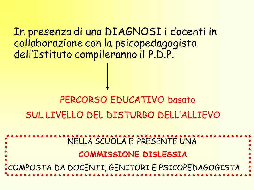 In presenza di una DIAGNOSI i docenti in collaborazione con la psicopedagogista dell'Istituto compileranno il P.D.P.