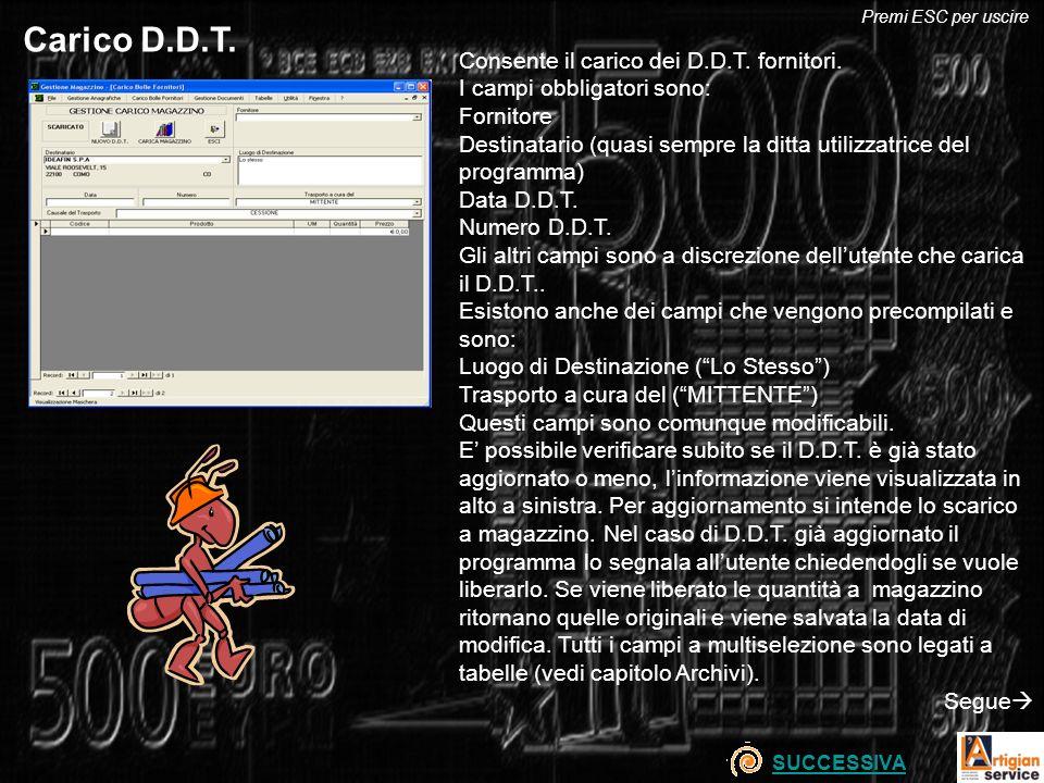 Carico D.D.T. Consente il carico dei D.D.T. fornitori.