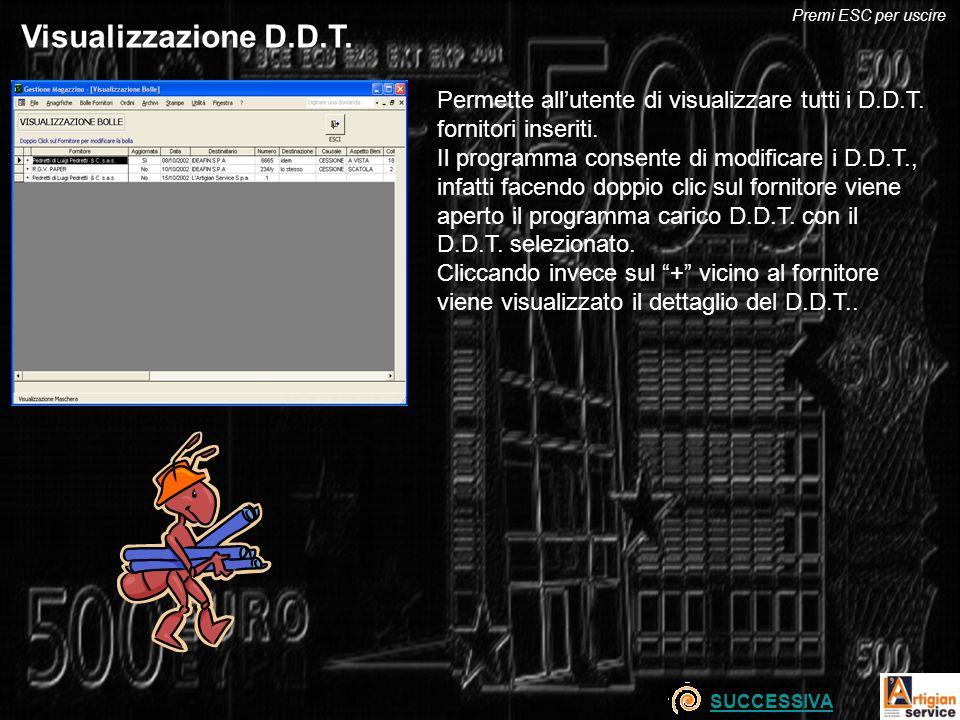 Premi ESC per uscire Visualizzazione D.D.T. Permette all'utente di visualizzare tutti i D.D.T. fornitori inseriti.