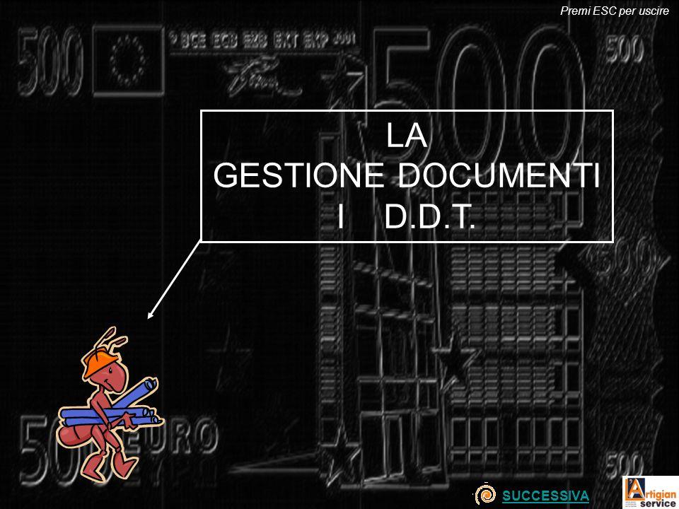 Premi ESC per uscire LA GESTIONE DOCUMENTI I D.D.T. SUCCESSIVA