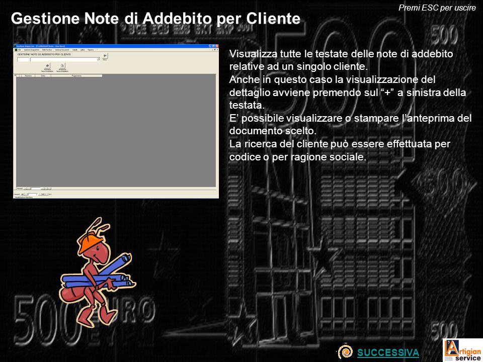 Gestione Note di Addebito per Cliente
