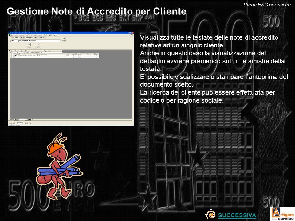 Gestione Note di Accredito per Cliente