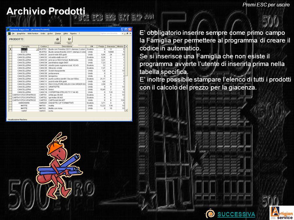 Premi ESC per uscire Archivio Prodotti.