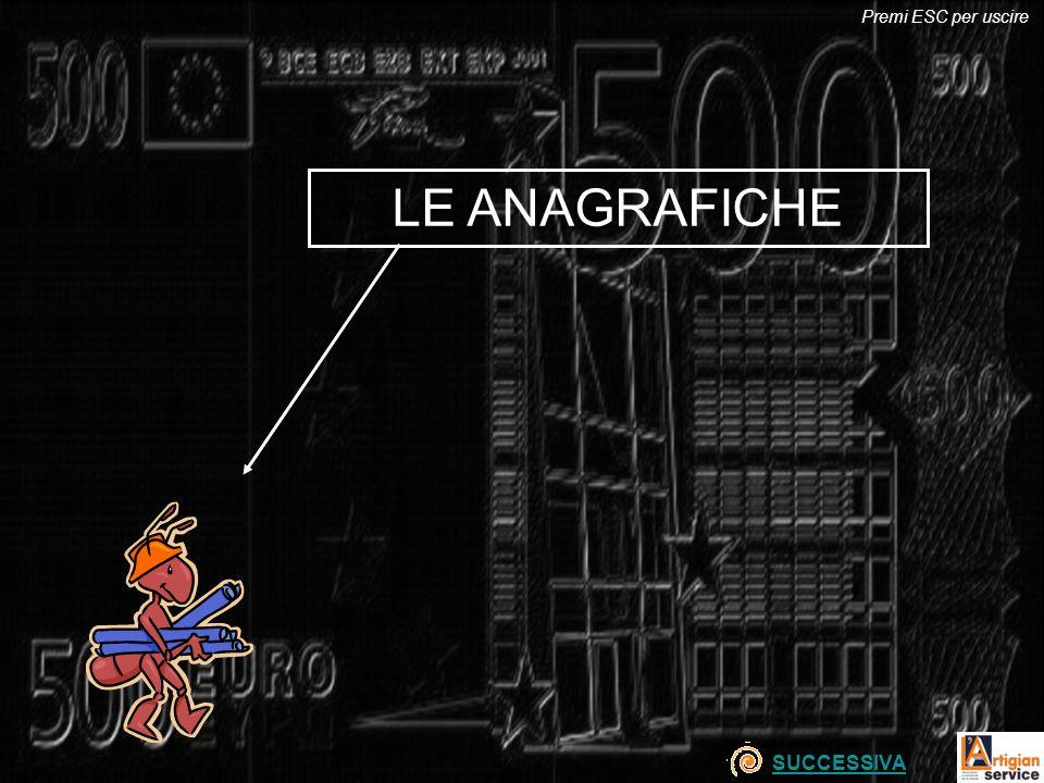 Premi ESC per uscire LE ANAGRAFICHE SUCCESSIVA