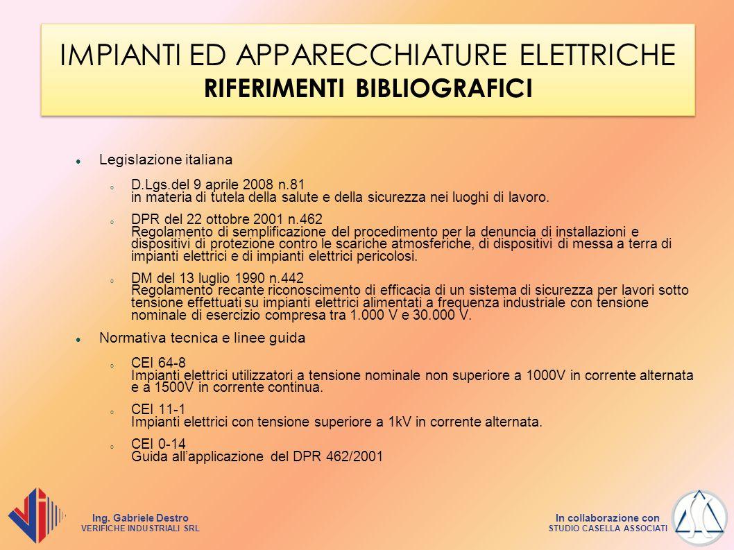 IMPIANTI ED APPARECCHIATURE ELETTRICHE RIFERIMENTI BIBLIOGRAFICI