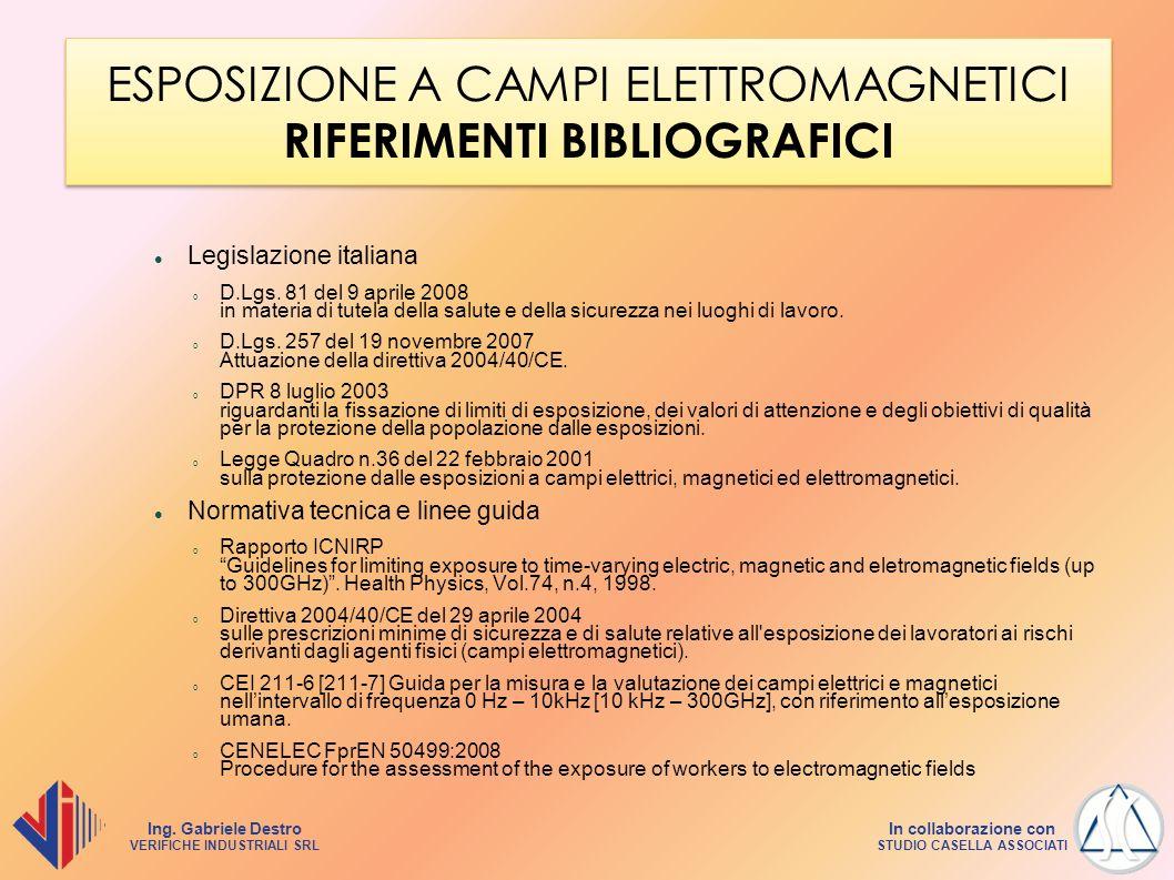 ESPOSIZIONE A CAMPI ELETTROMAGNETICI RIFERIMENTI BIBLIOGRAFICI