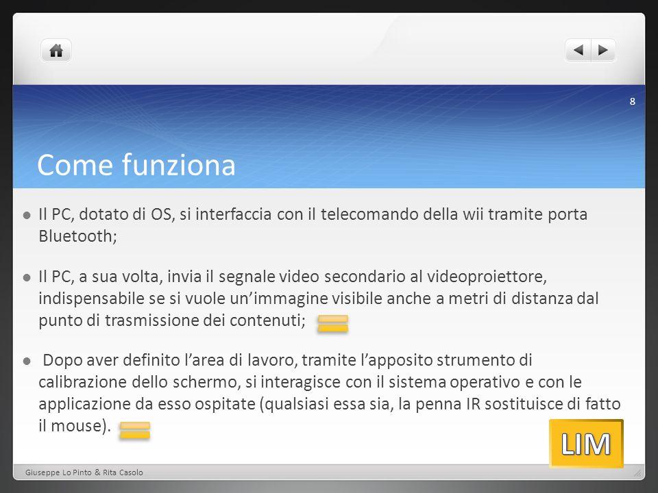 Il PC, dotato di OS, si interfaccia con il telecomando della wii tramite porta Bluetooth;