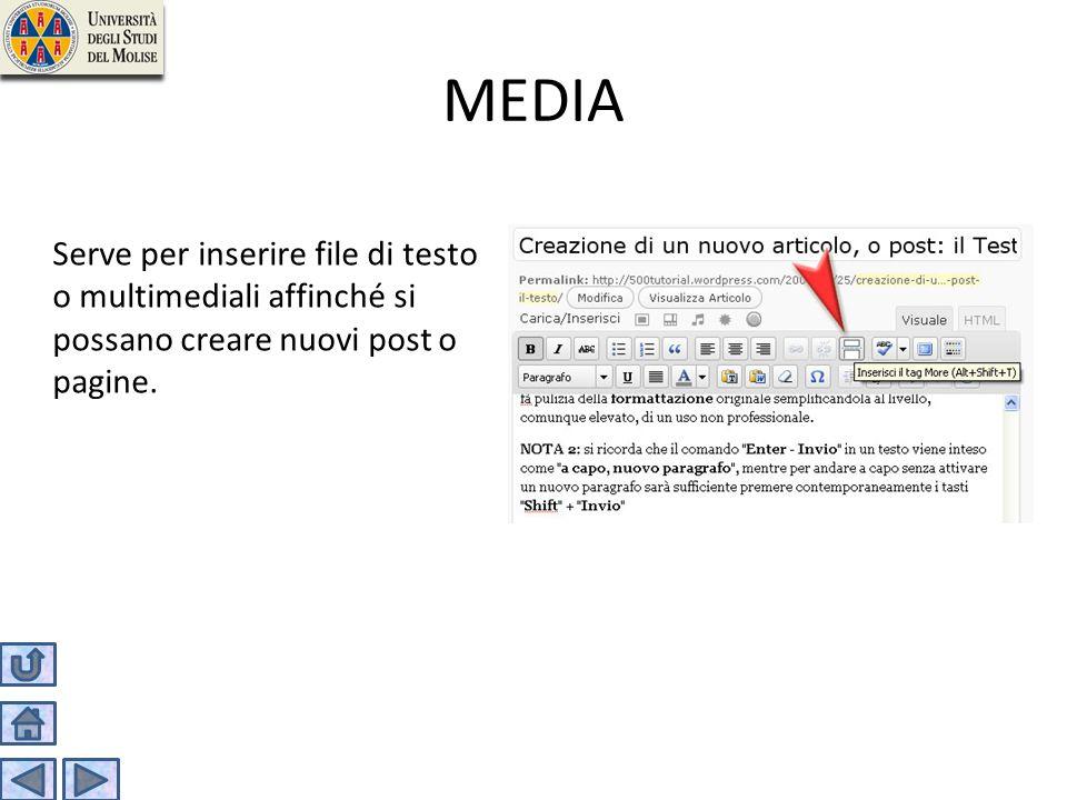 MEDIA Serve per inserire file di testo o multimediali affinché si possano creare nuovi post o pagine.