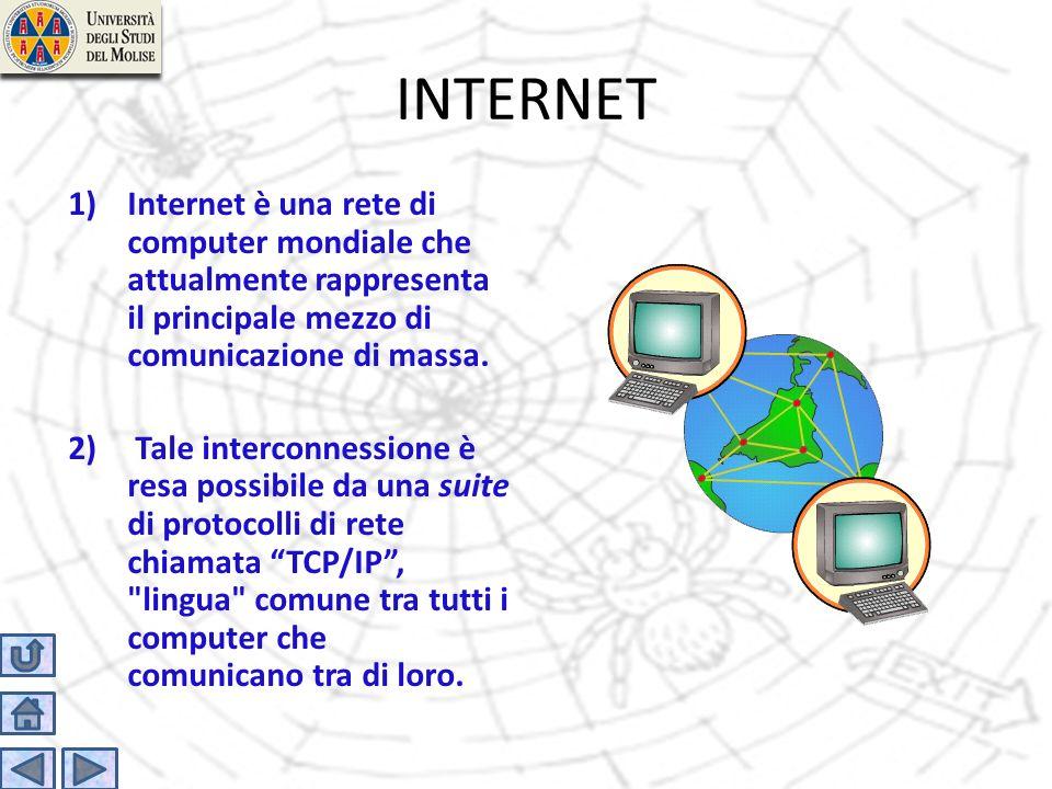 INTERNET Internet è una rete di computer mondiale che attualmente rappresenta il principale mezzo di comunicazione di massa.