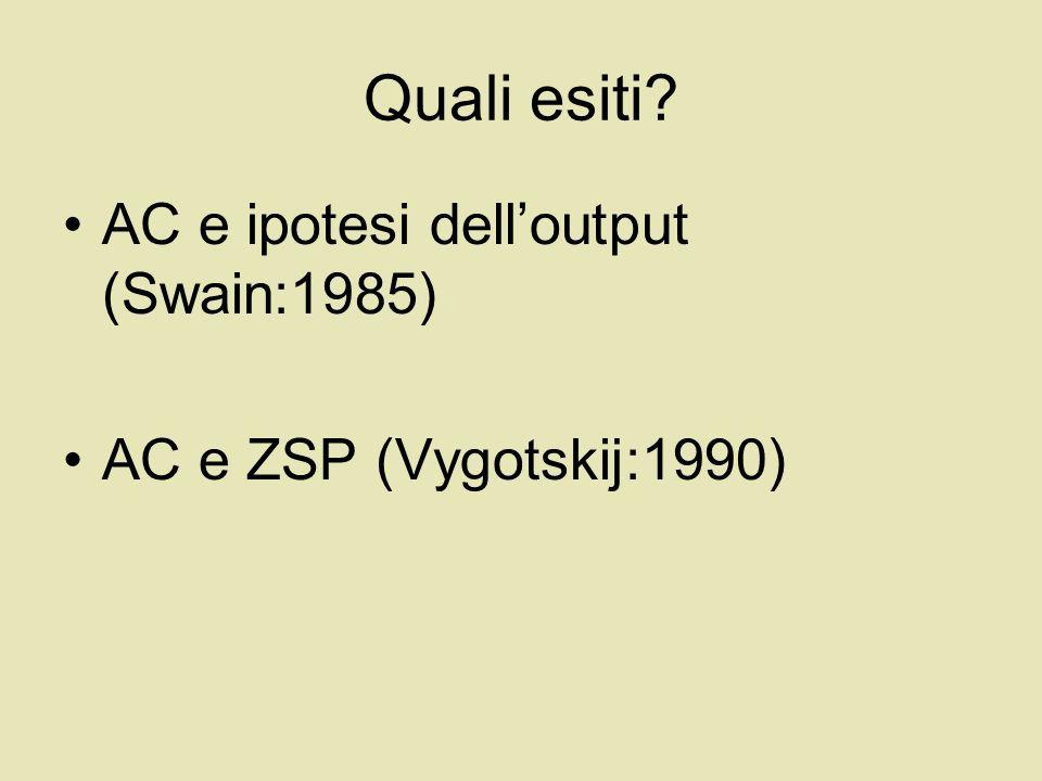Quali esiti AC e ipotesi dell'output (Swain:1985)