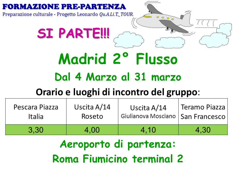 Aeroporto di partenza: Roma Fiumicino terminal 2