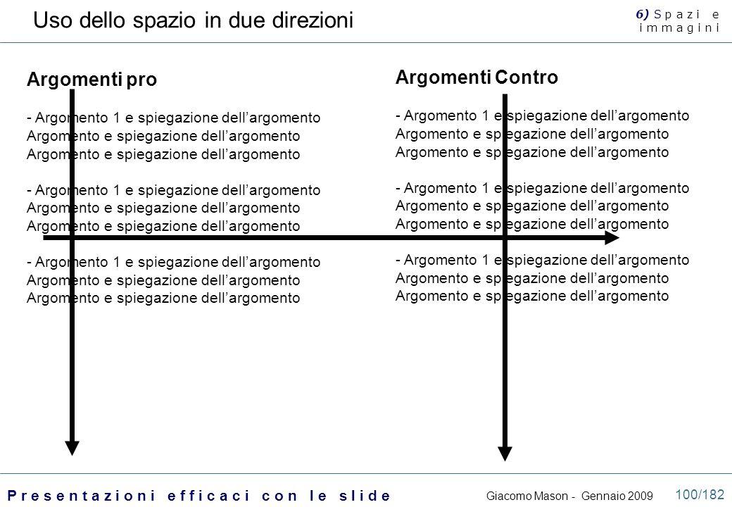 Uso dello spazio in due direzioni