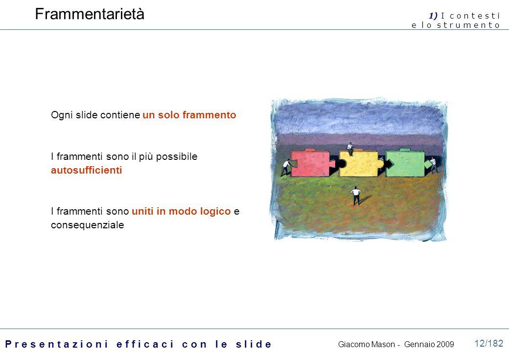 Frammentarietà Ogni slide contiene un solo frammento