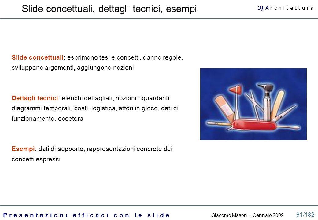 Slide concettuali, dettagli tecnici, esempi