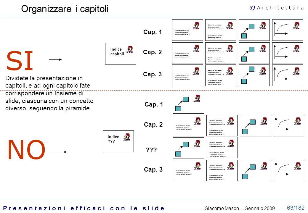 SI NO Organizzare i capitoli Cap. 1 Cap. 2 Cap. 3
