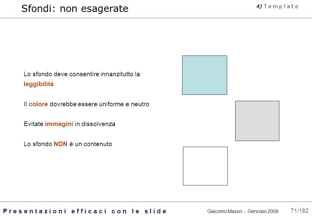 Sfondi: non esagerate 4) T e m p l a t e. Lo sfondo deve consentire innanzitutto la leggibilità. Il colore dovrebbe essere uniforme e neutro.