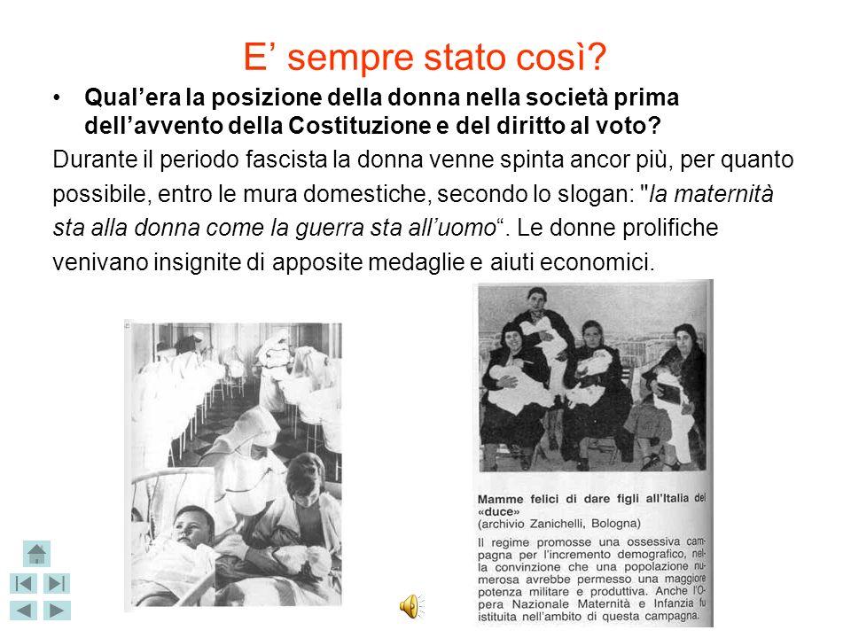 E' sempre stato così Qual'era la posizione della donna nella società prima dell'avvento della Costituzione e del diritto al voto