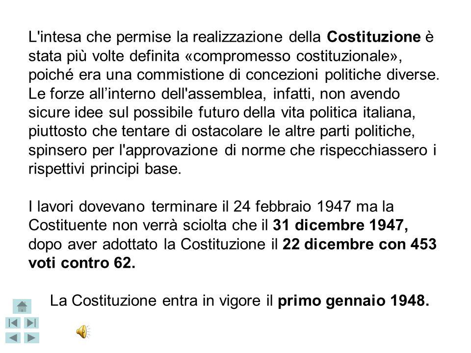 La Costituzione entra in vigore il primo gennaio 1948.