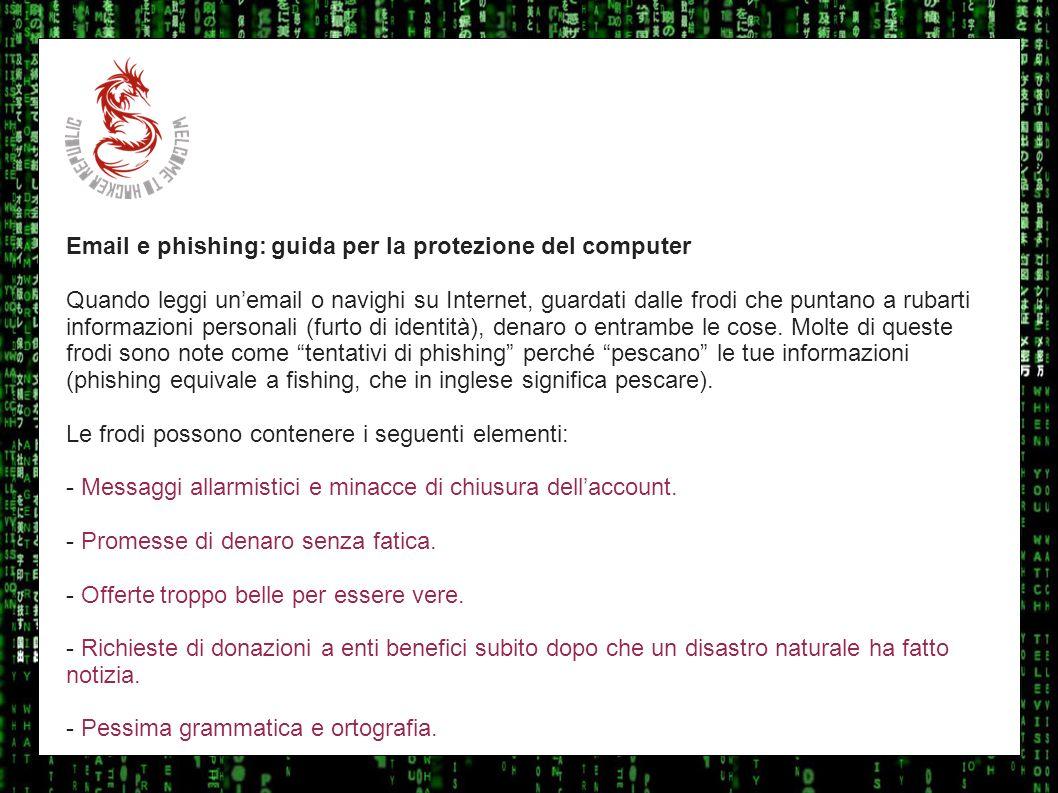 I sulla geo Email e phishing: guida per la protezione del computer.