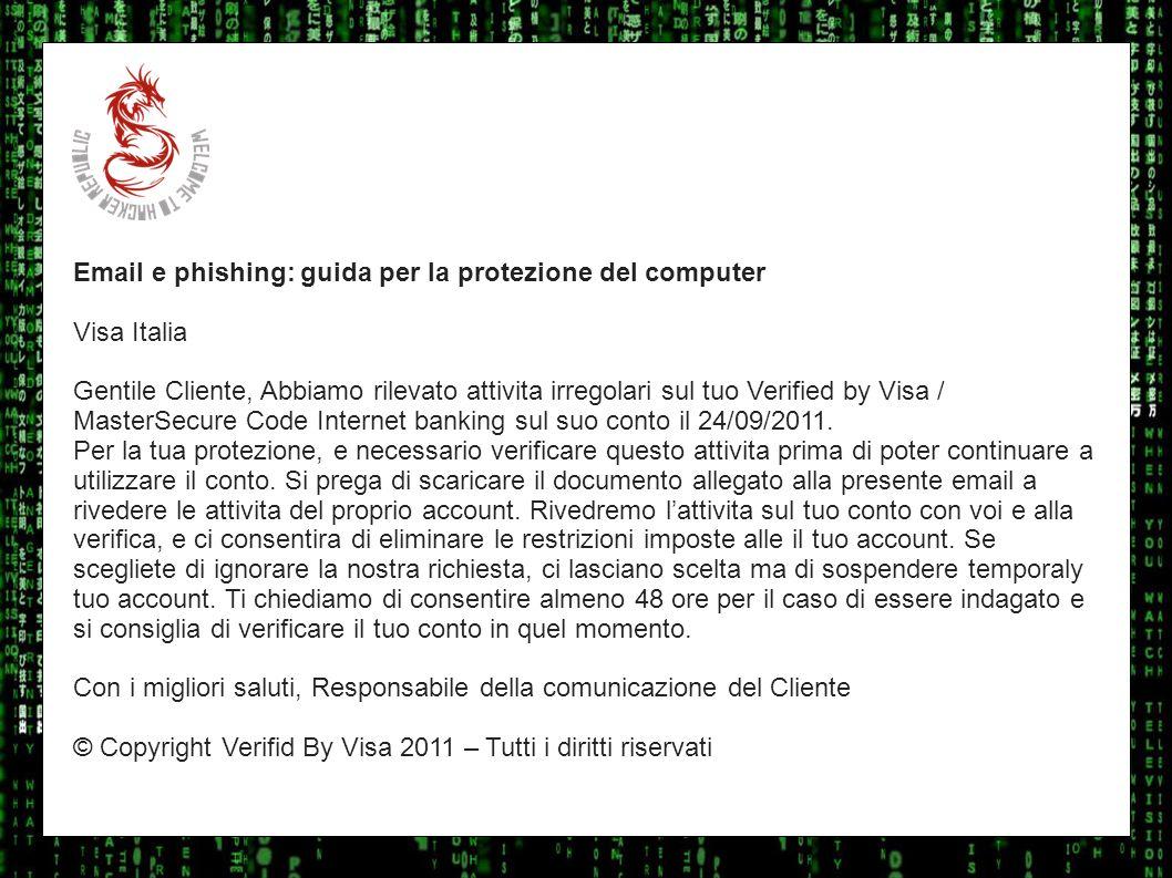 I sulla geo Email e phishing: guida per la protezione del computer. Visa Italia.