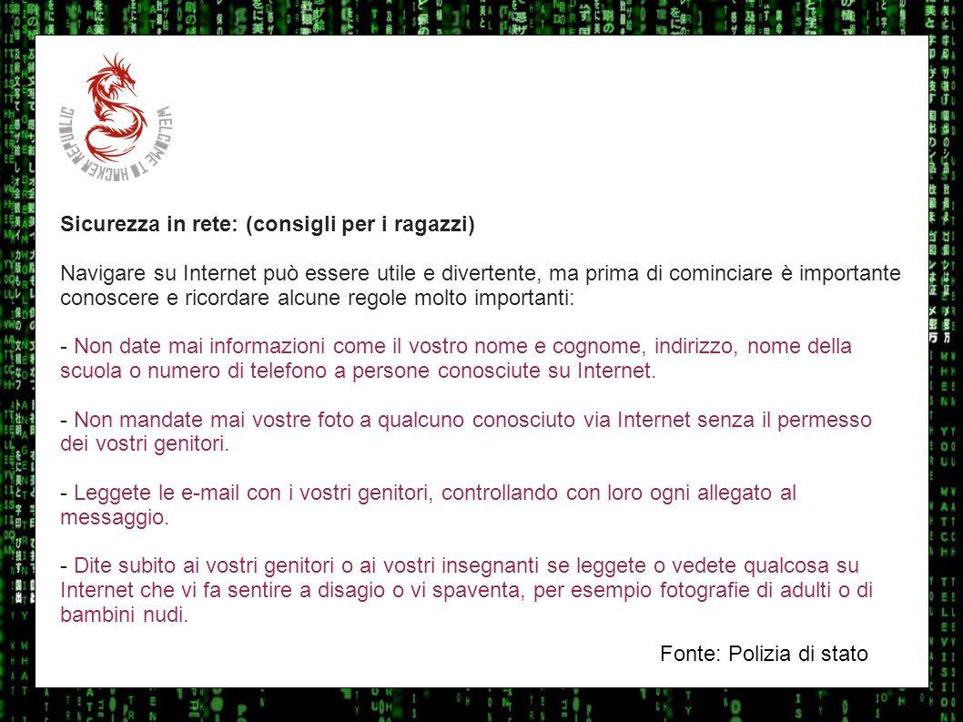 I sulla geo Sicurezza in rete: (consigli per i ragazzi)