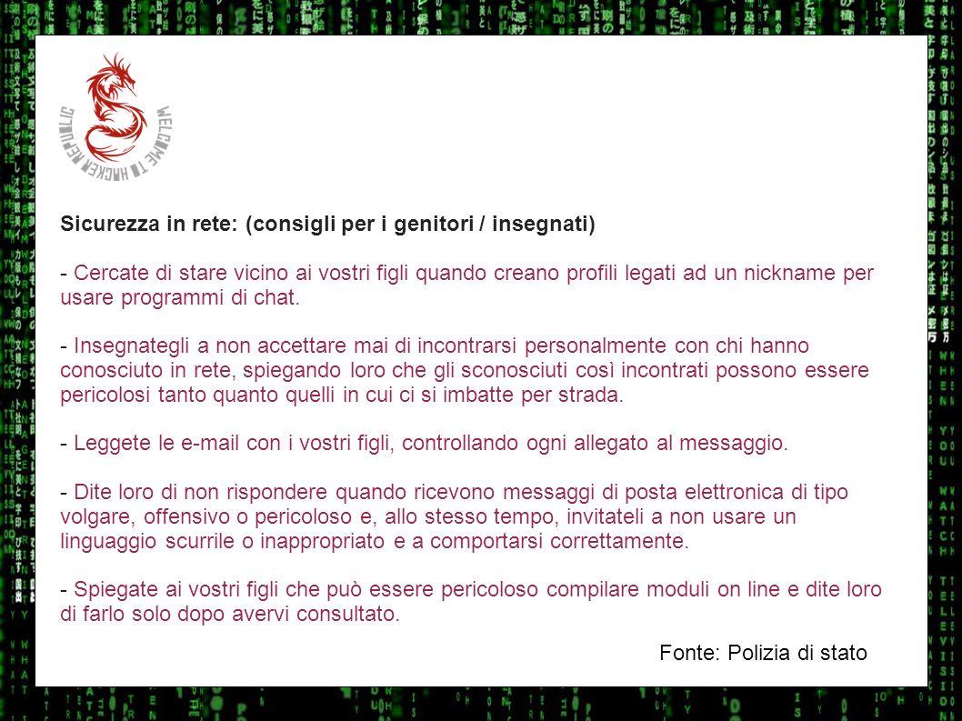 I sulla geo Sicurezza in rete: (consigli per i genitori / insegnati)