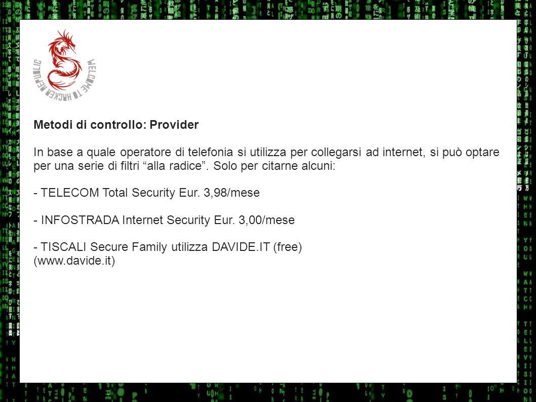 I sulla geo Metodi di controllo: Provider.