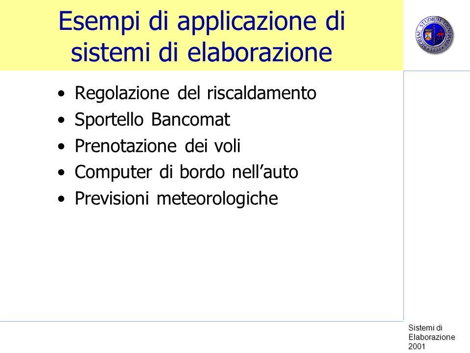 Esempi di applicazione di sistemi di elaborazione