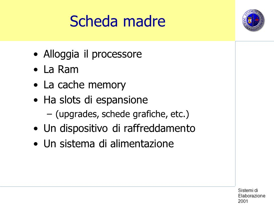 Scheda madre Alloggia il processore La Ram La cache memory