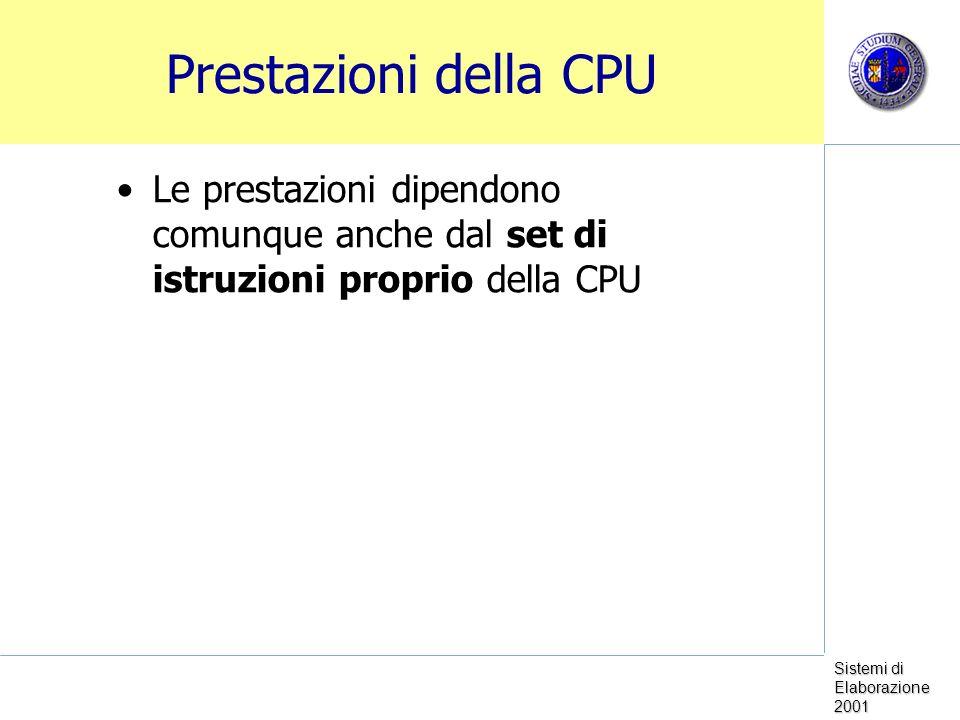 Prestazioni della CPU Le prestazioni dipendono comunque anche dal set di istruzioni proprio della CPU.