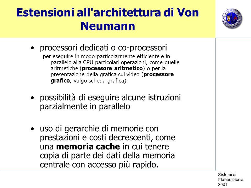 Estensioni all architettura di Von Neumann