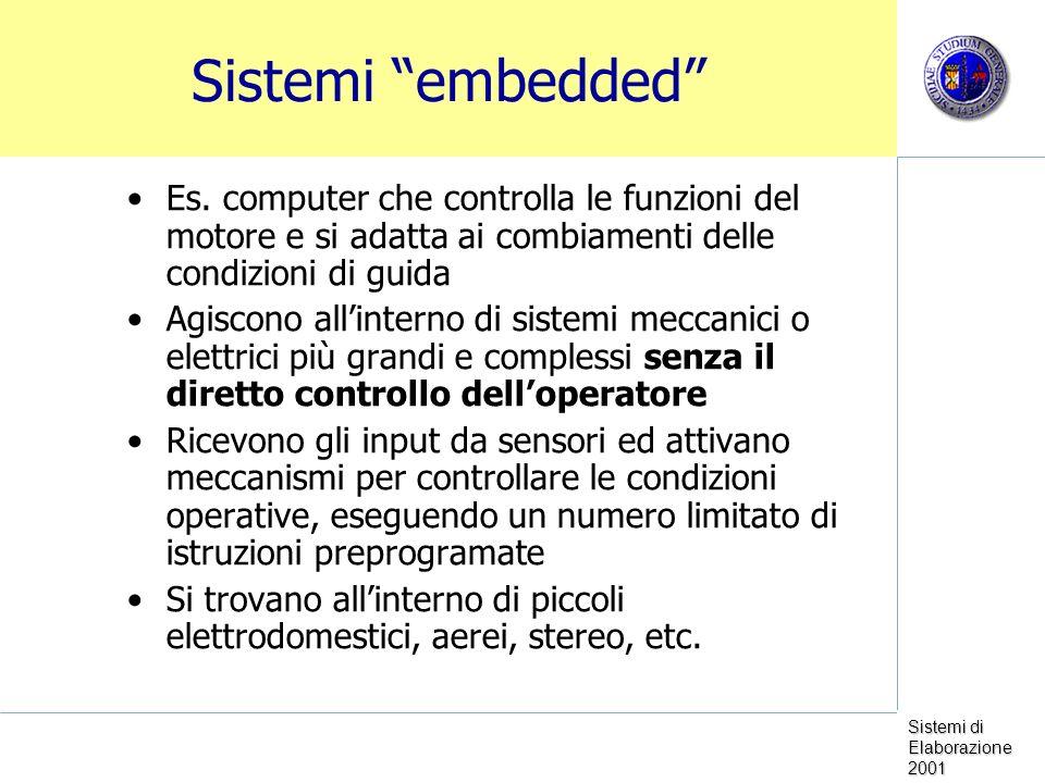 Sistemi embedded Es. computer che controlla le funzioni del motore e si adatta ai combiamenti delle condizioni di guida.