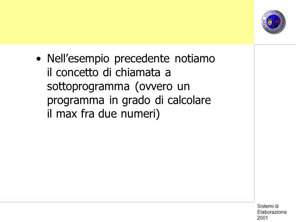Nell'esempio precedente notiamo il concetto di chiamata a sottoprogramma (ovvero un programma in grado di calcolare il max fra due numeri)