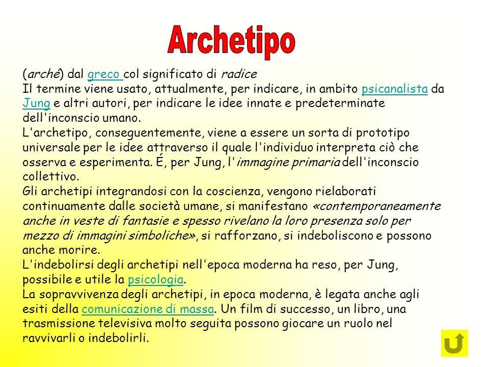 Archetipo (arché) dal greco col significato di radice
