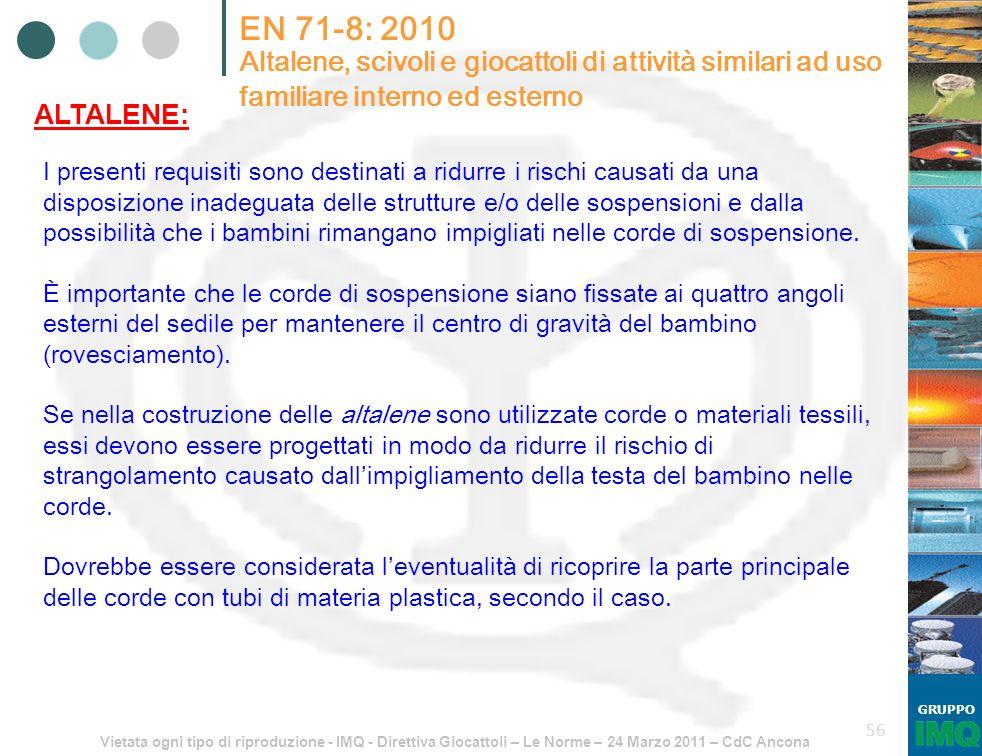 EN 71-8: 2010 Altalene, scivoli e giocattoli di attività similari ad uso familiare interno ed esterno.