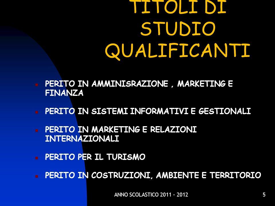 TITOLI DI STUDIO QUALIFICANTI