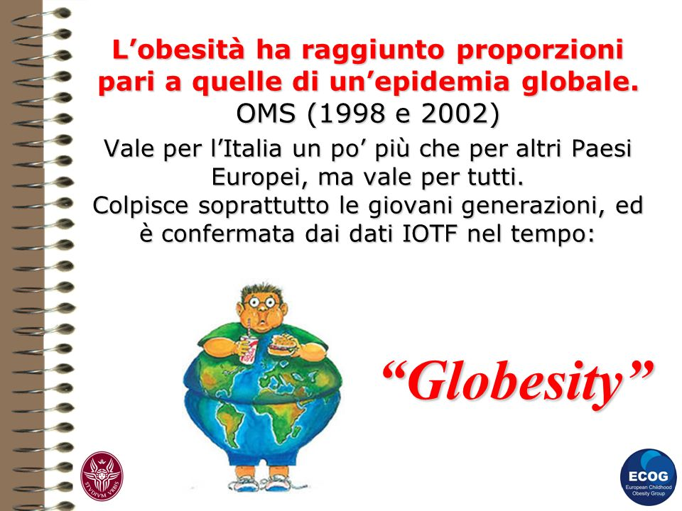 L'obesità ha raggiunto proporzioni pari a quelle di un'epidemia globale. OMS (1998 e 2002)