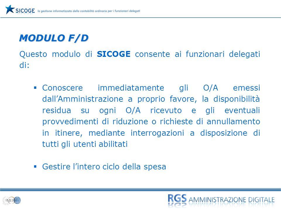 MODULO F/D Questo modulo di SICOGE consente ai funzionari delegati di: