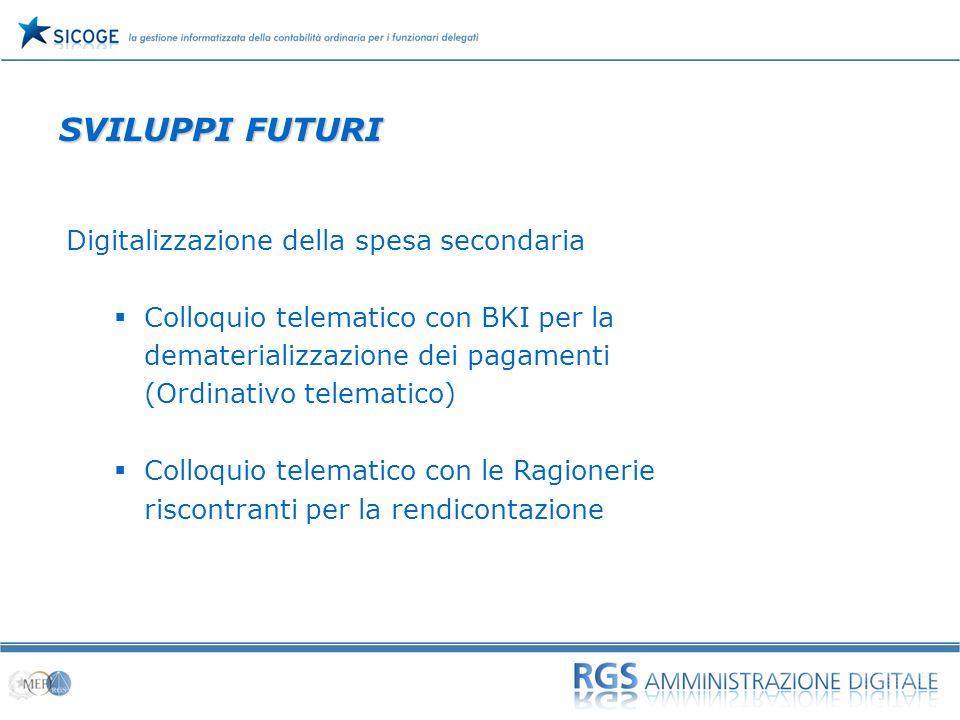 SVILUPPI FUTURI Digitalizzazione della spesa secondaria