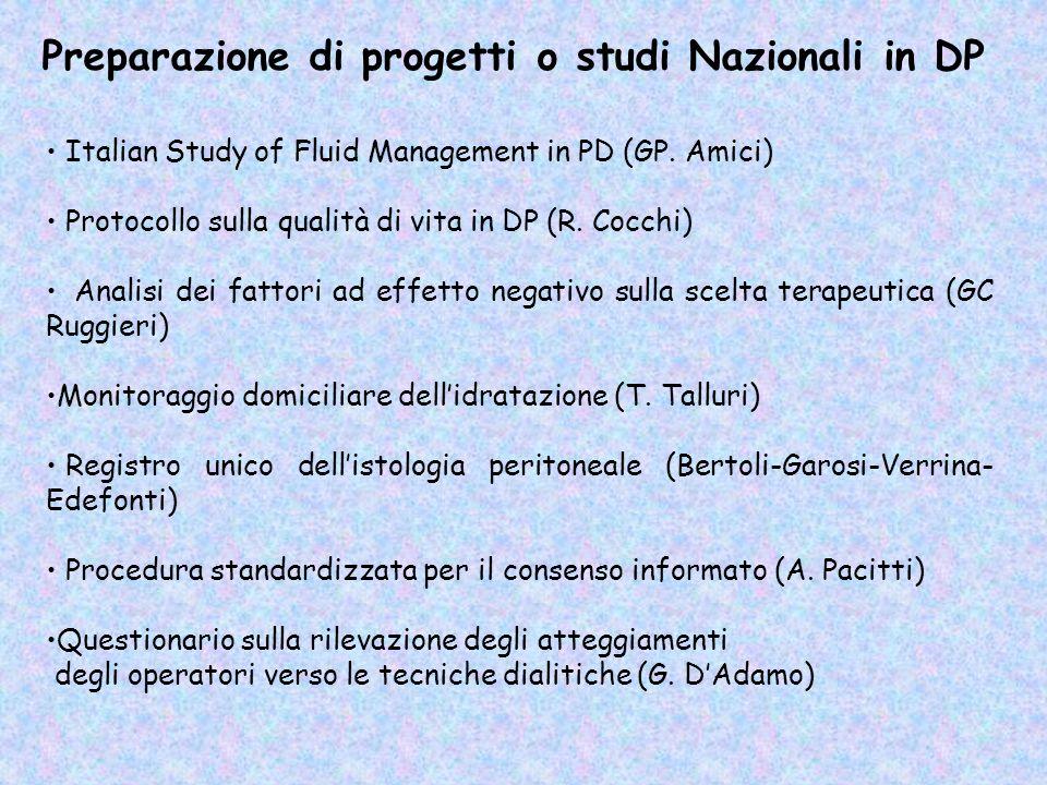 Preparazione di progetti o studi Nazionali in DP