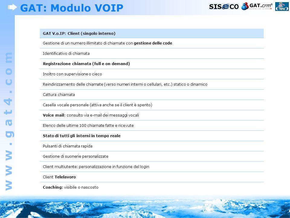 GAT: Modulo VOIP GAT V.o.IP: Client (singolo interno)
