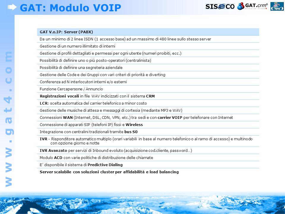 GAT: Modulo VOIP GAT V.o.IP: Server (PABX)