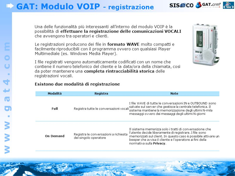 GAT: Modulo VOIP - registrazione