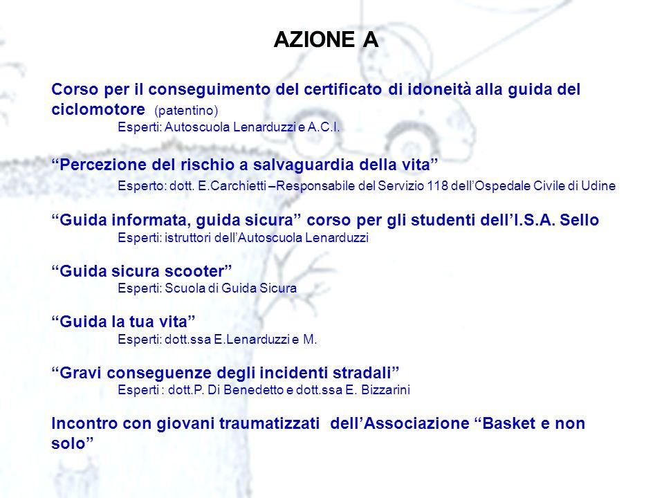 AZIONE A Corso per il conseguimento del certificato di idoneità alla guida del ciclomotore (patentino)