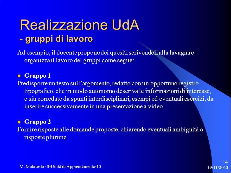 Realizzazione UdA - gruppi di lavoro