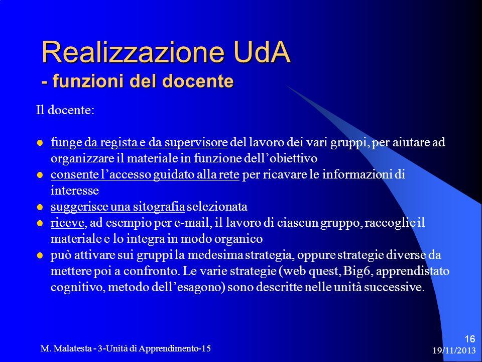 Realizzazione UdA - funzioni del docente