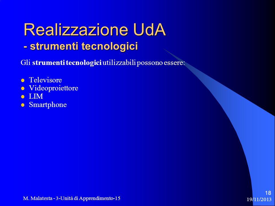 Realizzazione UdA - strumenti tecnologici