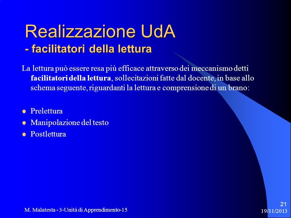 Realizzazione UdA - facilitatori della lettura