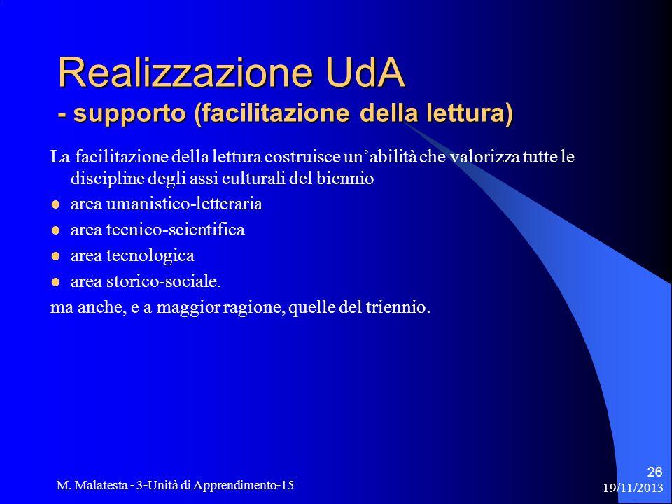 Realizzazione UdA - supporto (facilitazione della lettura)