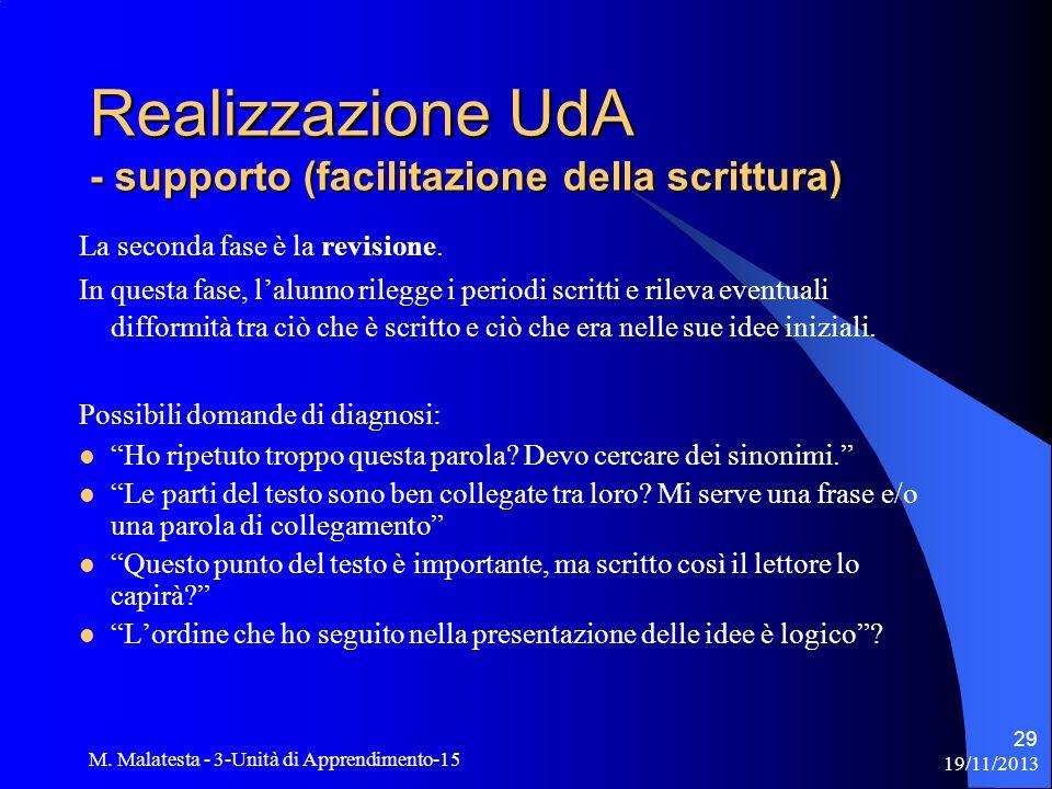 Realizzazione UdA - supporto (facilitazione della scrittura)
